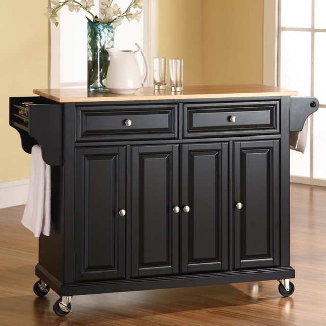 Natural Wood Top Kitchen Cart Island Traditional