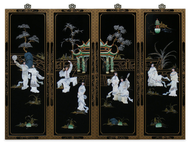 wall plaque with mother of pearl design asian home. Black Bedroom Furniture Sets. Home Design Ideas