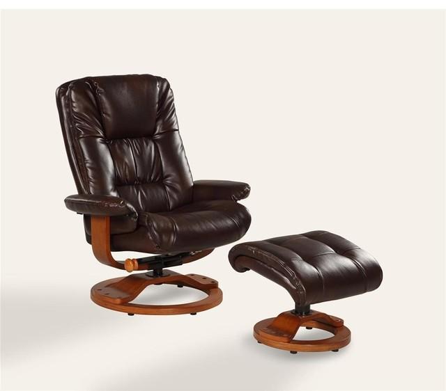 Oslo Collection Espresso Brown Bonded Leather Swivel Recliner W Ottoman Tr