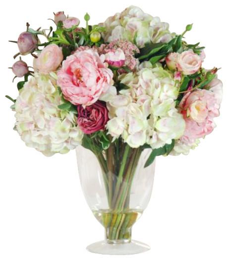 Garden Flowers In Glass Flower Arrangement