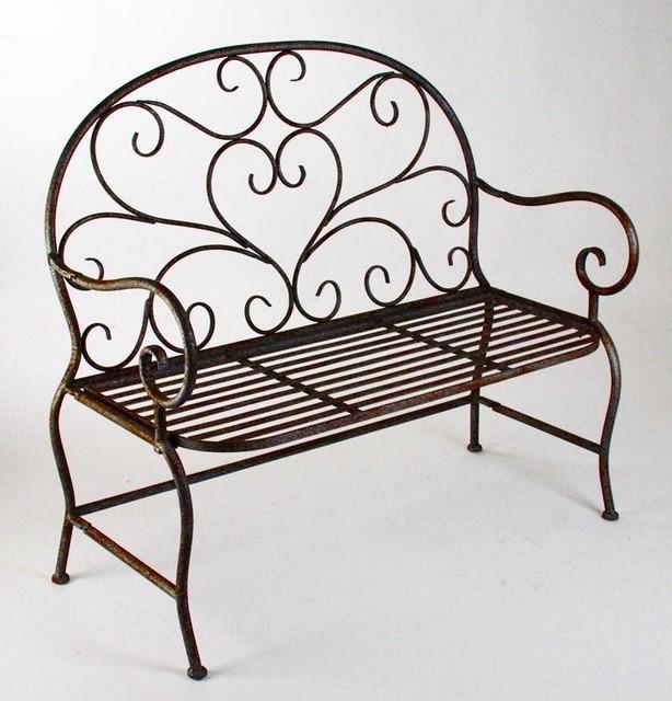 zentique metal garden bench traditional indoor benches