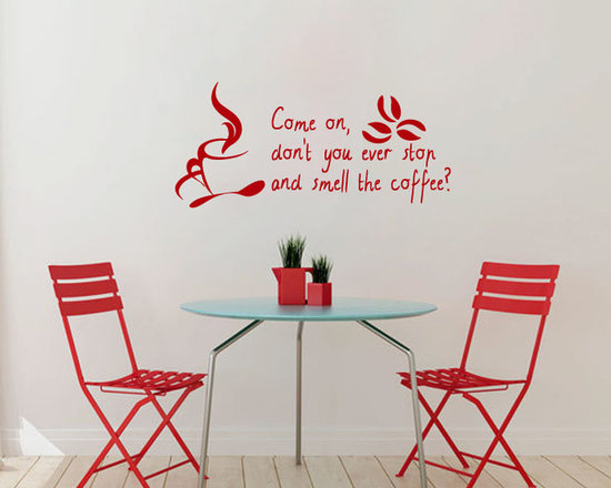 Vinyl Decals Smell Coffee Bean Cup Mug Quote Home Wall Decor Removable Sticker M -