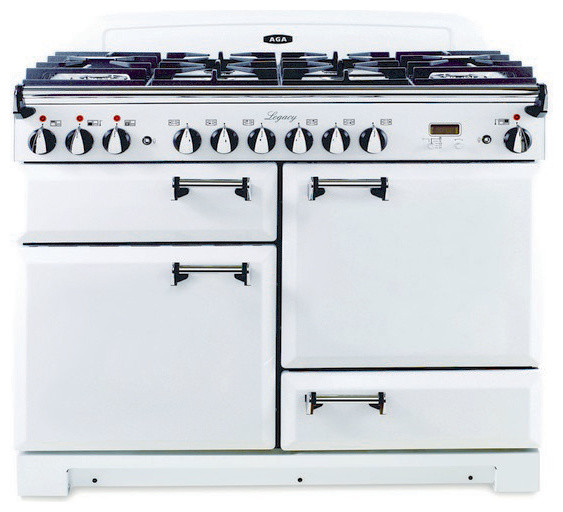 aga dual fuel range with solid door vintage white