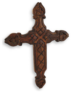 Carved Wooden Cross Wall Hanging traditional-artwork