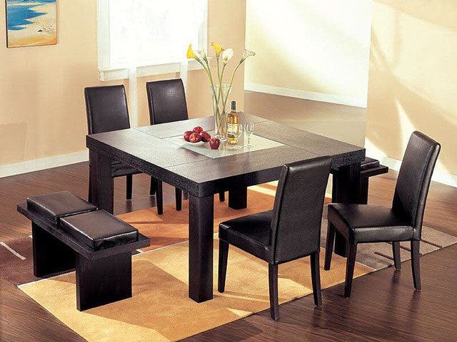 Extendable Wooden And Frosted Glass Top Leather Modern Dining Set
