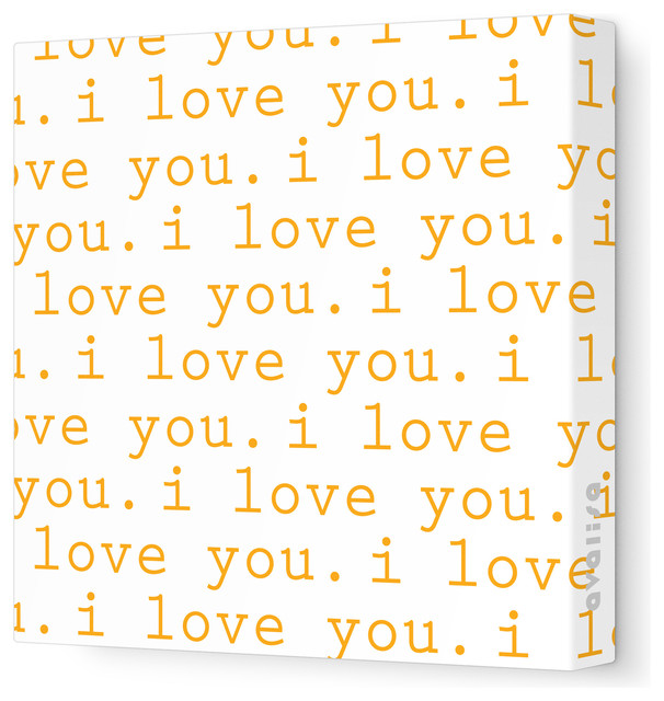 "Imagination - 'I Love You' Stretched Wall Art, Orange, 28"" x 28"" contemporary-artwork"