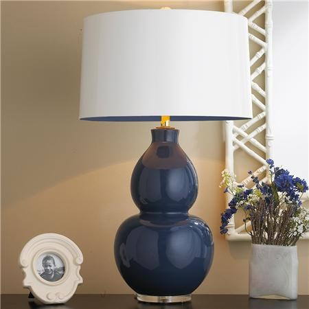 Pop Color Modern Ceramic Table Lamp Navy With Navy Lining