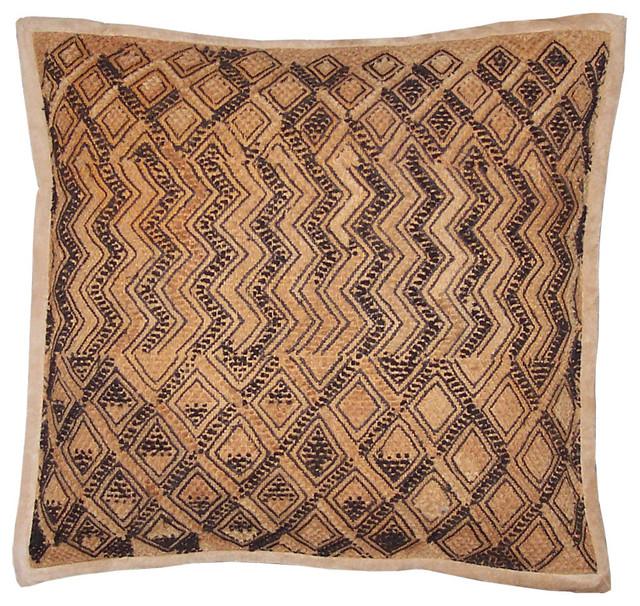 Pillow African Kuba Cloth Pillow With Zig Zags