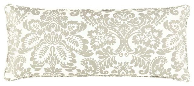 Pine Cone Hill Imperial Damask Platinum Double Boudoir Pillow contemporary-decorative-pillows