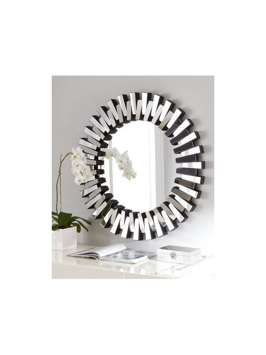 """""""Mingling Slats"""" Mirror - A frame of mirrored slats arranged in alternating up and down fashion lends depth and interest to this round mirror."""