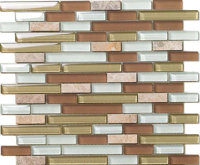 interlocking mosaic tiles stone glass blend tiles crystal backsplash