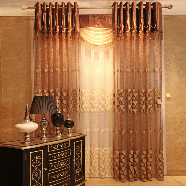 Customized Curtains in Coffee Color midcentury-curtains