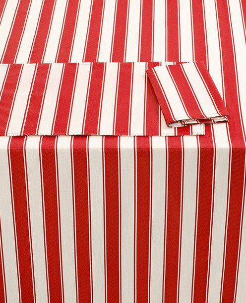 Cheyenne Stripe Red Indoor Outdoor Tablecloth