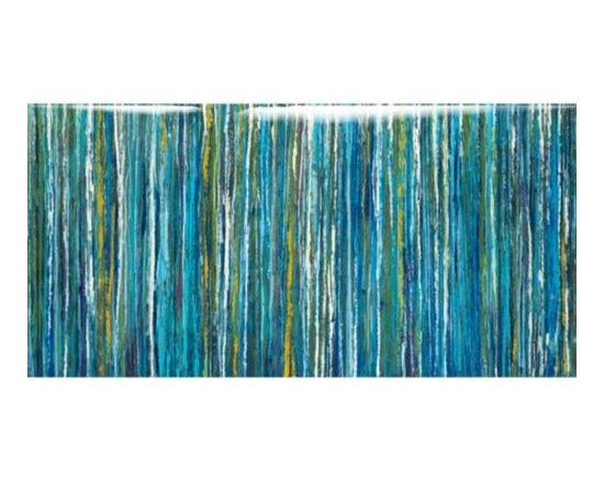 Z Gallerie - Bluecicles - Glass Coat - This eclectic, abstract giclee by Liz Jardine uses many shades of blue with hints of browns and greens to make the viewer feel caught in a cerulean ice storm.Bluecicles features a high resolution image printed directly on canvas withan epoxy, glass coat finish. The epoxy, resin based finish that is applied to the image is a multi-step process that is hand poured and renders a durable and protective polished glass coated finish. This creates a greater level of depth and dimension to the piece. The finish also serves a sealer, which is moisture resistant, protects for warping or sagging, and ensures the lasting original beauty of the artwork. Special Orders  You will have 3 days from the transaction date to change or cancel your special order purchase. Special orders cannot be returned or exchanged.