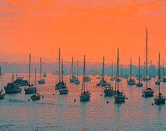 Sunset In Santa Catalina Harbor by Ben and Raisa Gertsberg canvas art, art print beach-style-artwork