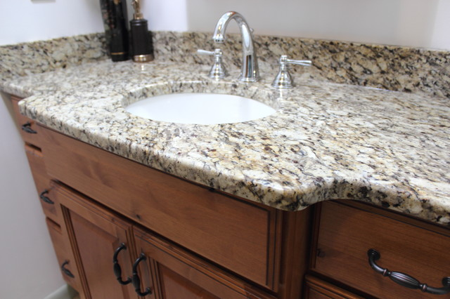 Knotty Alder Vanity With Tile Shower Stow Oh Traditional Vanity Tops And Side Splashes