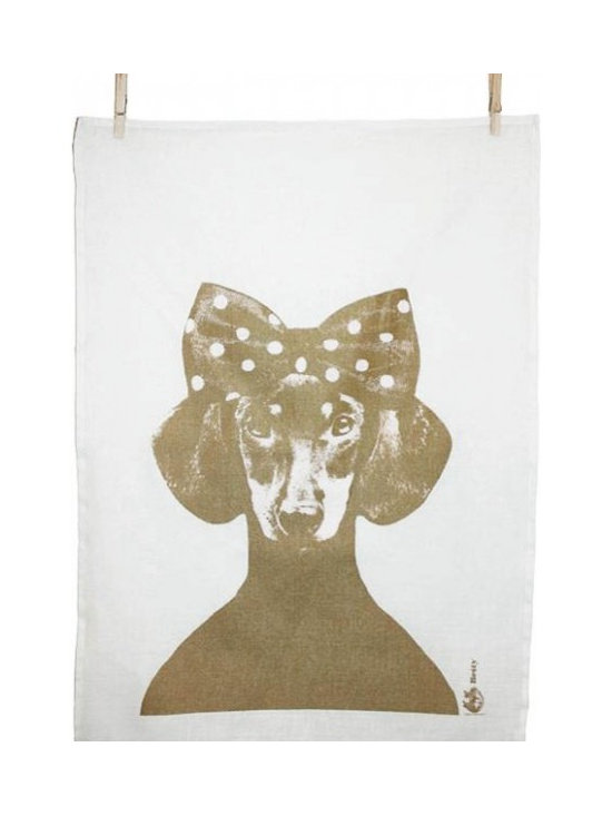 Lisa Bengtsson - Lisa Bengtsson Tillsammans Tea Towel , Betty Gold - Every time we look at these adorable tea towels by Lisa Bengtsson they make us chuckle. In her designs Bengtsson features dogs which she adorns with all manner of hairstyles, hats and accessories giving them a very believable human persona. From crowns to bow ties and top hats to feathers, each and every dog takes on a character that is both humorous and endearing.