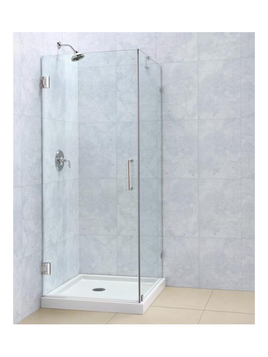 "DreamLine Radiance 32"" x 32"" Shower Enclosure SHEN-2330300 - The RADIANCE shower door shines with a sleek completely frameless glass design. Premium thick tempered glass combined with high quality solid brass hardware deliver the look of custom glass at an incredible value."