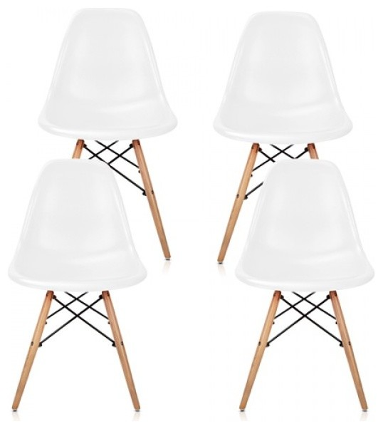 Set Of 4 Eames Style Molded White Plastic Dining Shell