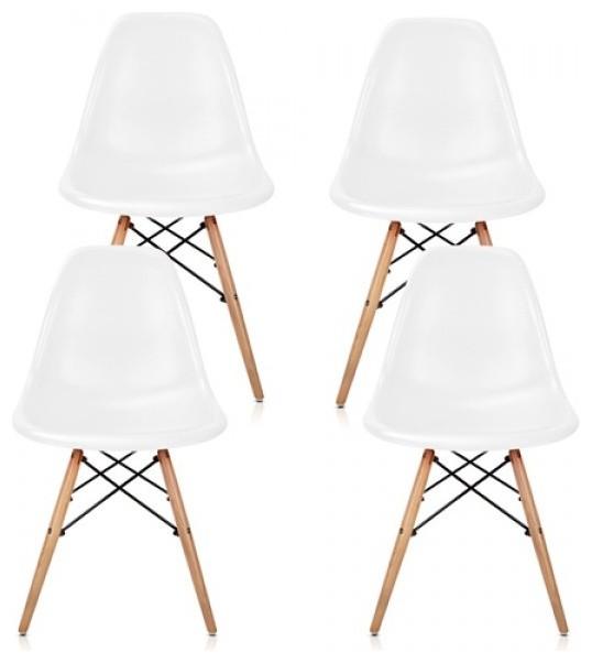 Dsw white mid century modern plastic dining shell chair w wood eiffel