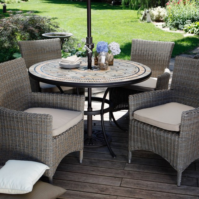 Palazetto Barcelona Mosaic and Wicker Chairs Patio Dining Set Seats 4 Con