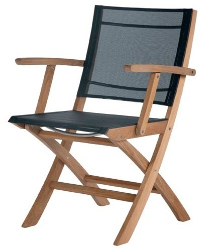 Barlow Tyrie Horizon Teak Folding Carver Chair Charcoal Modern Outdoor L