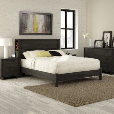 Fynn Full Storage Headboard Platform Bed - Gray Oak - modern ...