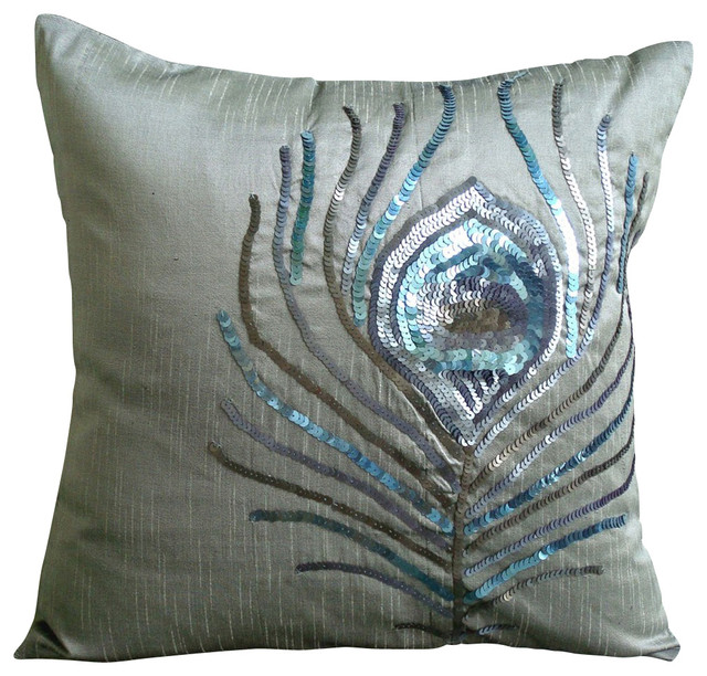 Silver Decorative Bed Pillows : Peacock Feather Decorative Silver Silk Throw Pillow Cover, 24x24 - Contemporary - Bed Pillows ...
