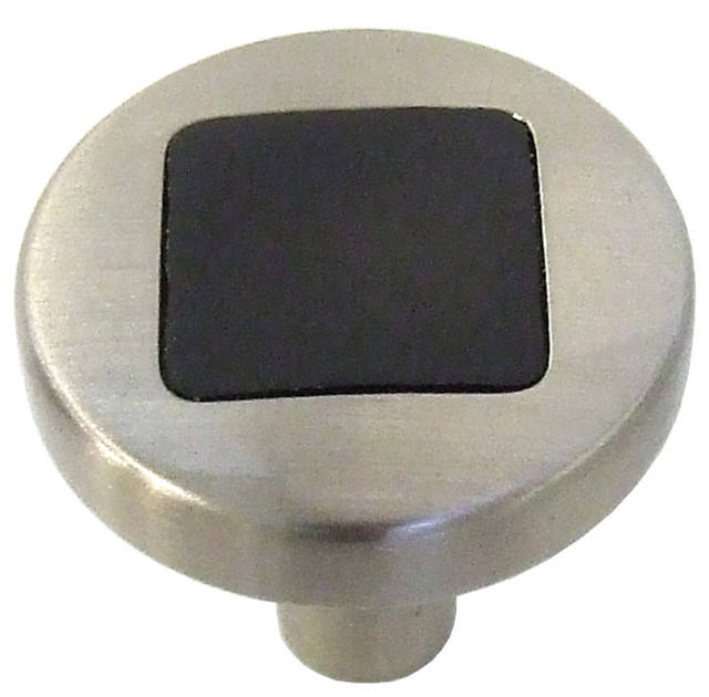 "Loft Satin Nickel With Black Cabinet Knob, 1"" traditional-cabinet-and-drawer-knobs"