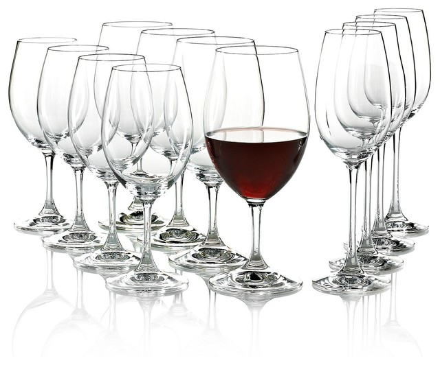 Riedel Ouverture Red, White and Magnum Champagne Glasses, Set of 12 traditional-wine-glasses