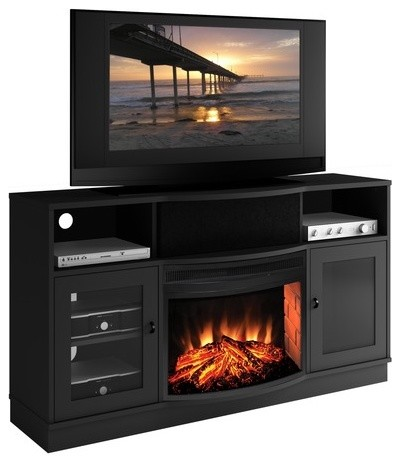 Contemporary 64 Tv Stand With Curved Electric Fireplace Modern Indoor Fireplaces By Allmodern