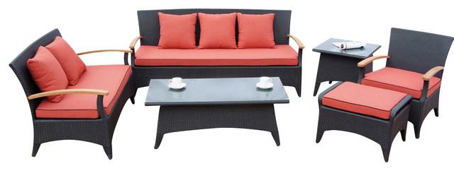 Tosh Furniture Dark Brown Sofa Set modern-outdoor-chairs