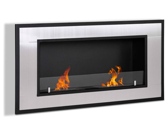 Moda Flame - Lugo Wall Mounted Ethanol Fireplace - The Lugo wall mounted ethanol fireplace is the ideal way to give modern design and warmth to any household. With steel outer frame and two dual layer burners.