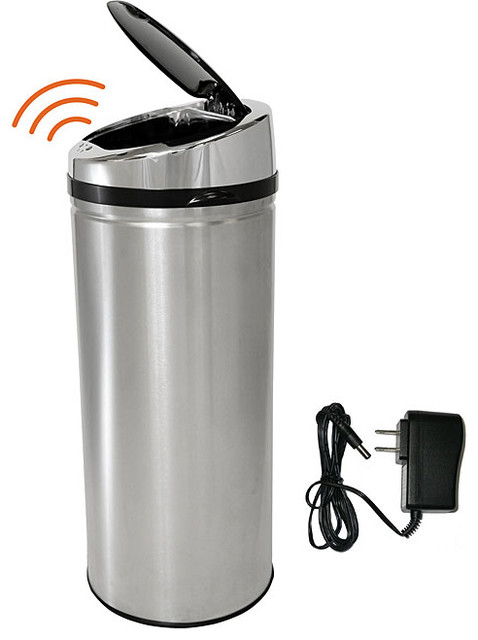 iTouchless 13 Gallon Automatic Stainless Steel Touchless Trash Can NX with AC Ad contemporary-kitchen-trash-cans