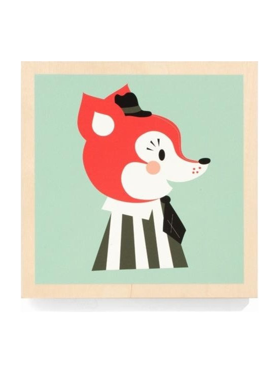 Ferm Living Mr. Frank Fox Picture - The Mr. Frank Fox by Ferm Living, is an adorable wooden framed picture that is easy to hang and will look super cute in your kids room.