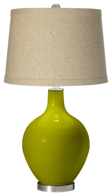 Contemporary Olive Green Oatmeal Linen Shade Ovo Table Lamp contemporary-table-lamps