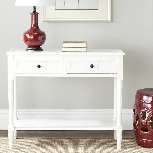 Safavieh cape cod cream 2 drawer console table for Cream hall table