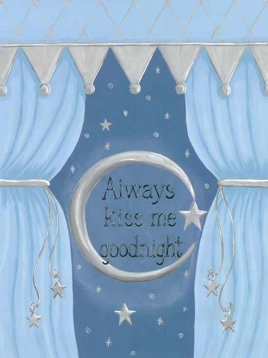 Oopsy Daisy / Sherri Blum - Always Kiss Me Goodnight Canvas Nursery Wall Art - Always Kiss Me Goodnight is a beautiful canvas reproduction of Sherri Blum's original nursery wall art. Available in three colors, pink, green and blue, this sentimental and sweet nursery wall decor has been seen in celebrity nurseries of such hollywood stars as Mario Lopez and John O'Hurley.