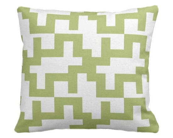 PURE Inspired Design - Maze Organic Pillow Cover, Lime/Natural, 18 X 12 - Collection:  PURE Beach