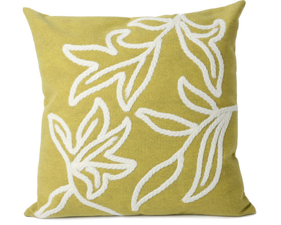 """Trans-Ocean Outdoor Pillows - Trans-Ocean Liora Manne Windsor Lime - 20"""" x 20"""" - Designer Liora Manne's newest line of toss pillows are made using a unique, patented Lamontage process combining handmade artistry with high tech processing. The 100% polyester microfibers are intricately structured by hand and then mechanically interlocked by needle-punching to create non-woven textiles that resemble felt. The 100% polyester microfiber results in an extra-soft hand with unsurpassed durability."""