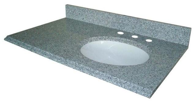 Pegasus 37 W Granite Vanity Top W Offset Right Bowl
