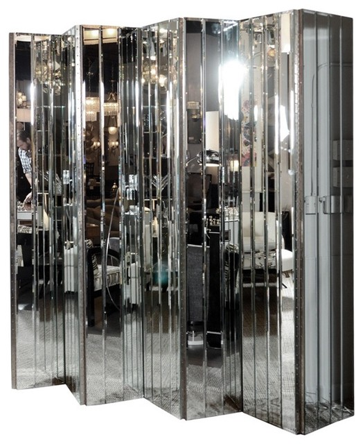 Ultra Chic Modernist 6-Paneled Mirrored Screen modern-screens-and-wall-dividers