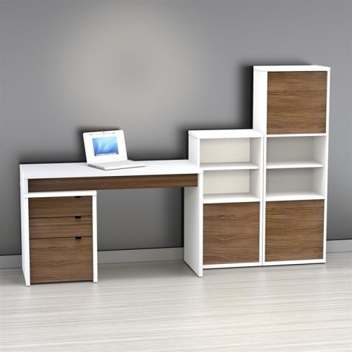 Nexera Liber-T Computer Desk with Bookcase and Filing Cabinet - Large - White an - Modern ...