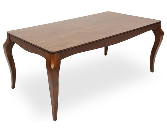 Bryght - Vinta Cocoa Wood Dining Table - Fusing the Victorian with the modern, the Vinta dining table displays a classic elegant design with contemporary undertones. Its beautiful cabriole legs give it a vintage sculptural edge, while its smooth veneered wooden top offers functionality with sophistication.