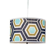 Retro Honeycomb Drum Shade Pendant modern-pendant-lighting
