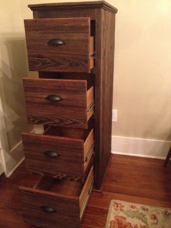 File Cabinet - Four Drawer File Cabinet made from reclaimed Texas barn wood