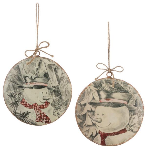 Snowman Disc Ornament Rustic Christmas Ornaments