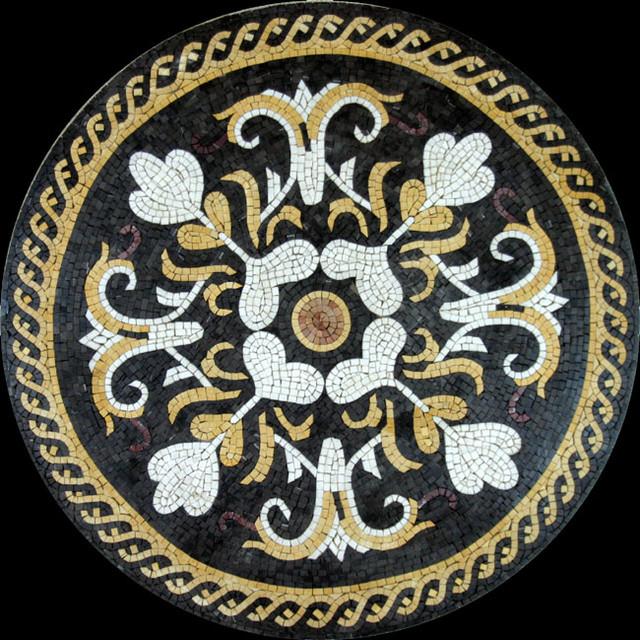 Custom Designed Handcut Marble Mosaic Medallions mediterranean-floor-tiles