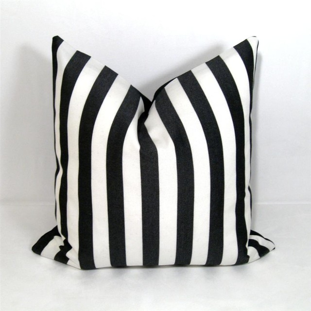 Black And White Stripe Outdoor Throw Pillows : Black White Stripe Outdoor Decor Cushion - Modern - Outdoor Cushions And Pillows - other metro ...