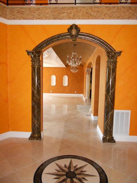 Faux Marble Columns & Fireplaces mediterranean